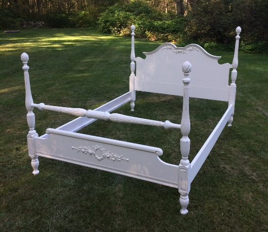shabby chic white poster bed