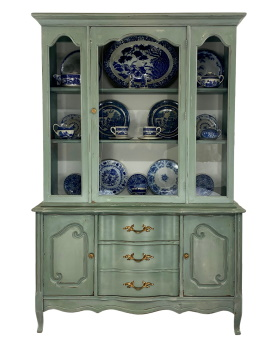 French provincial painted china closet