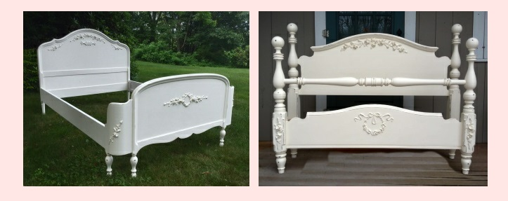 Full or double bed painted white with roses