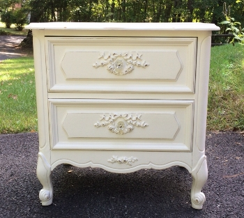 Painted white nightstand with roses
