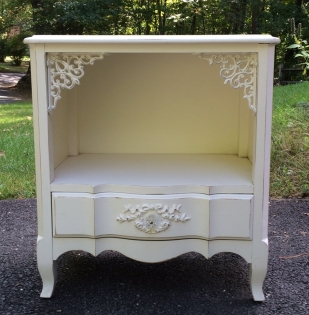 white painted nightstand shabby chic