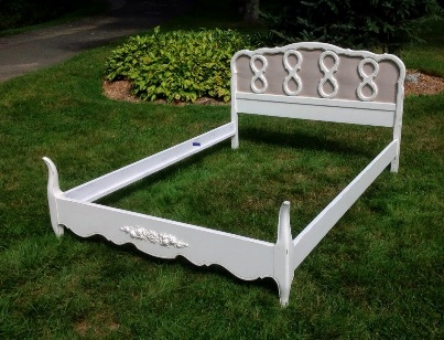 Painted shabby chic French Provincial bed with linen