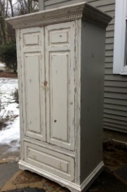 Farmhouse distressed armoire with drawer