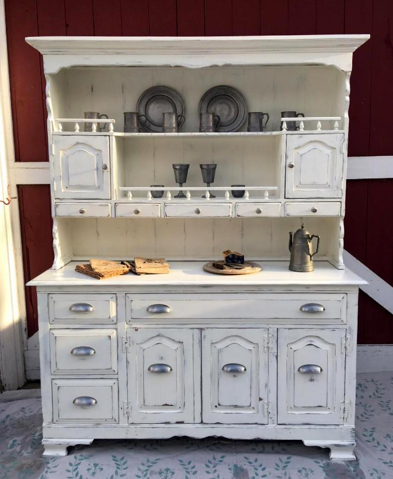 Custom Painted Distressed Modern Farmhouse Style Hutch With New Brushed Nickel Bin Pulls And Knobs Creamy White Juniper Hill Antiques Can Do This