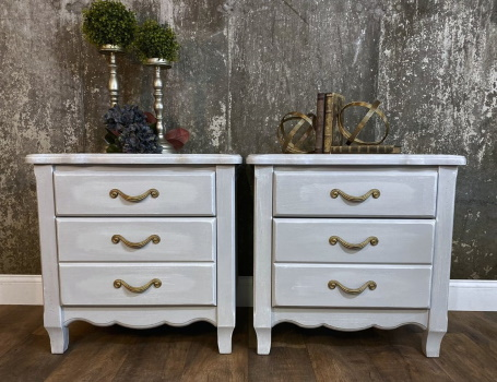 Matched set Farmhouse painted nightstands
