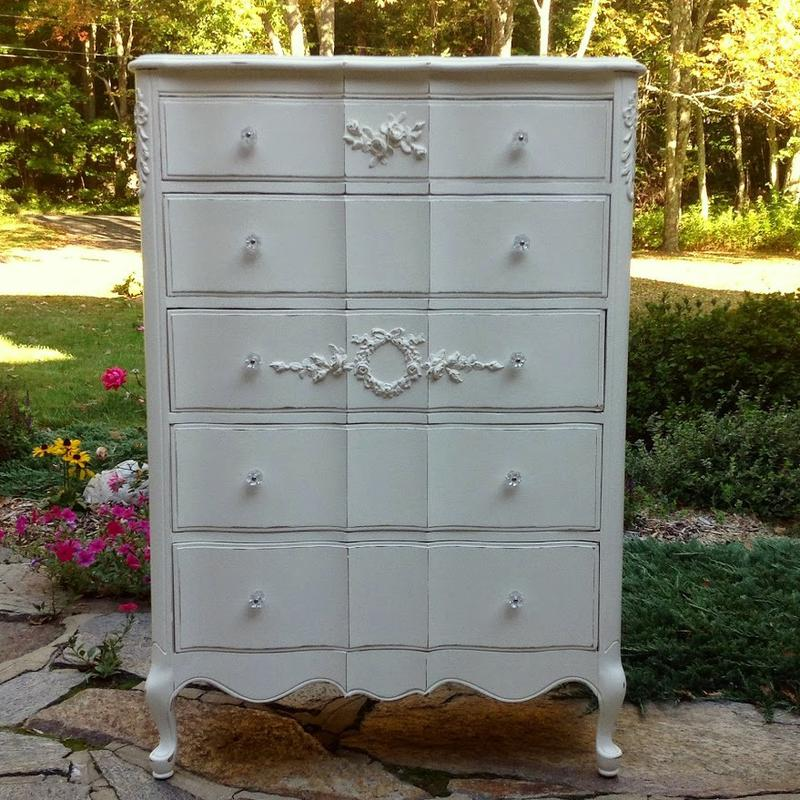 Vintage shabby chic French provincial tall dresser