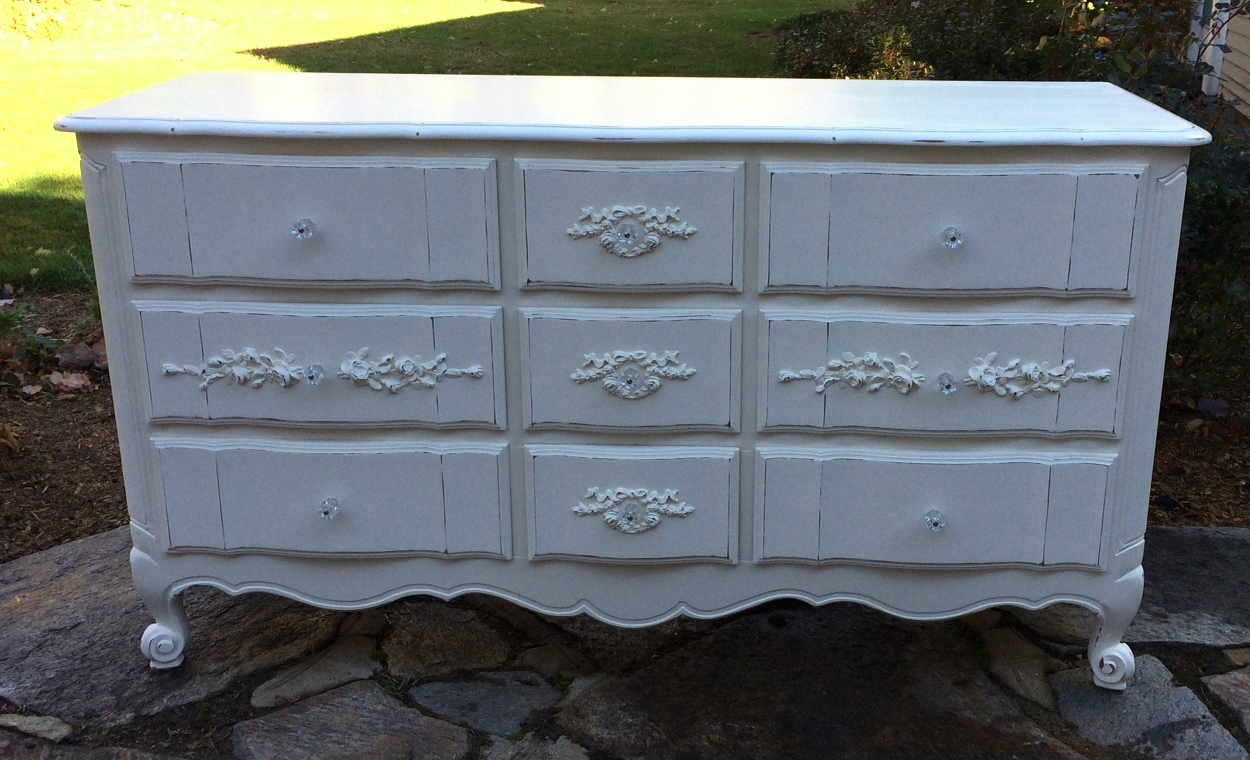 French Provincial Painted Dresser With Roses