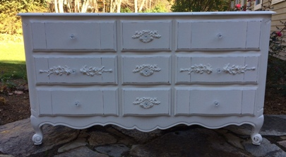 Cottage dresser painted white with roses