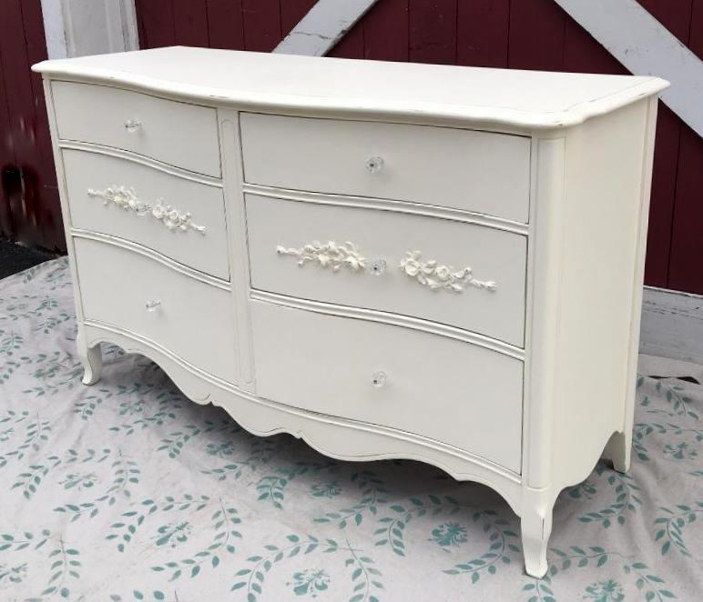 Painted distressed French dresser with roses