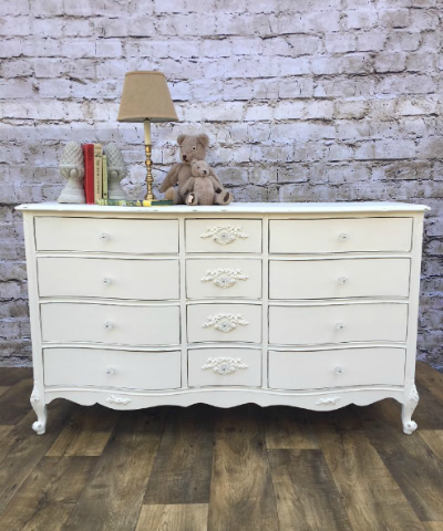 Painted cottage shabby chic white dresser with floral appliques