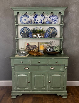 two piece hutch chalk painted