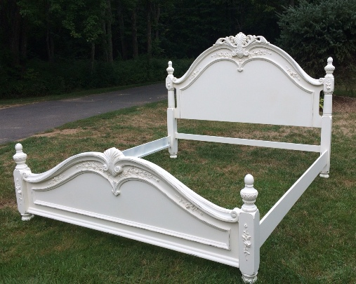 King size white shabby chic bed with roses. Shabby Chic Furniture Vintage Distressed Painted Restored