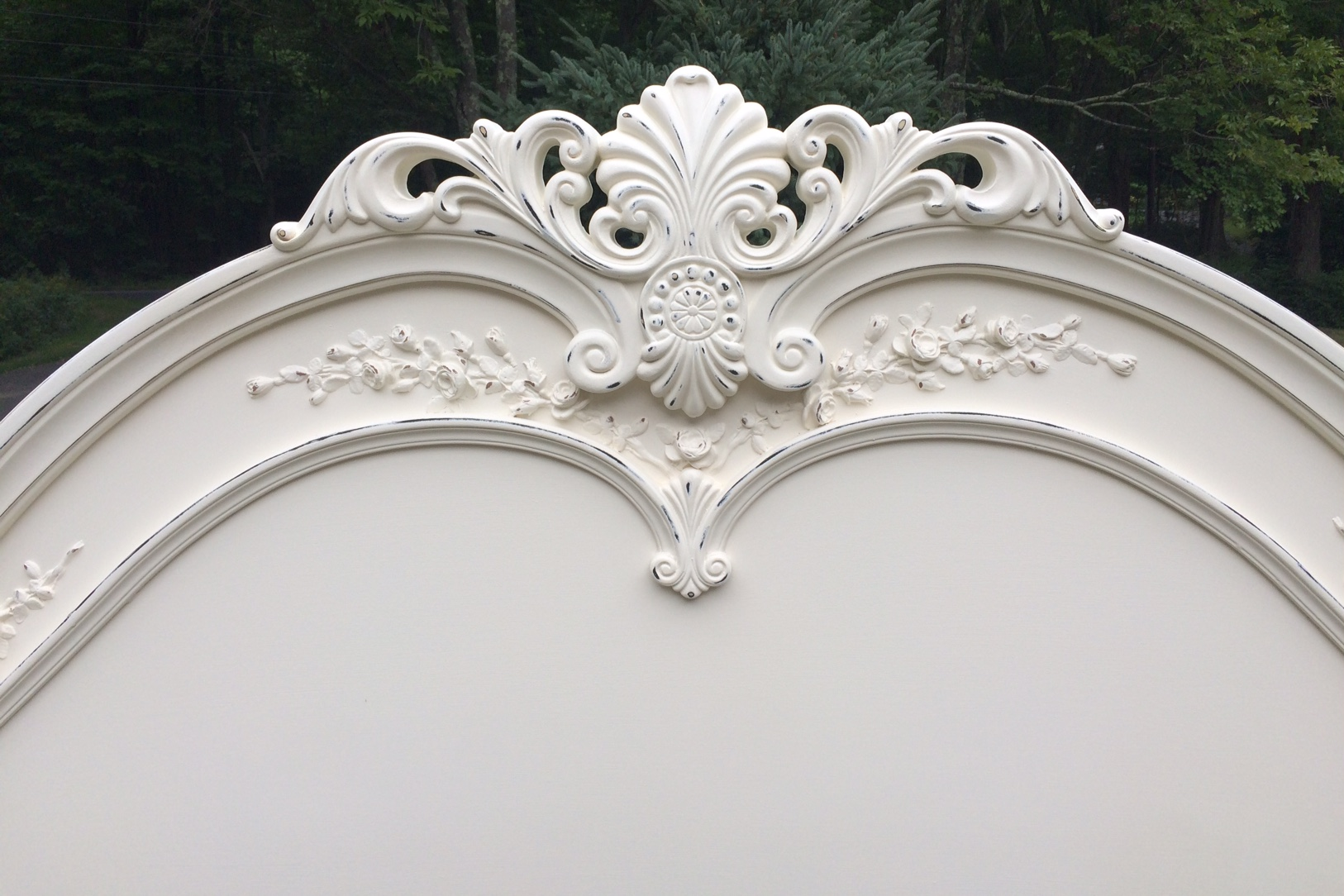 Shabby Chic king bed painted white