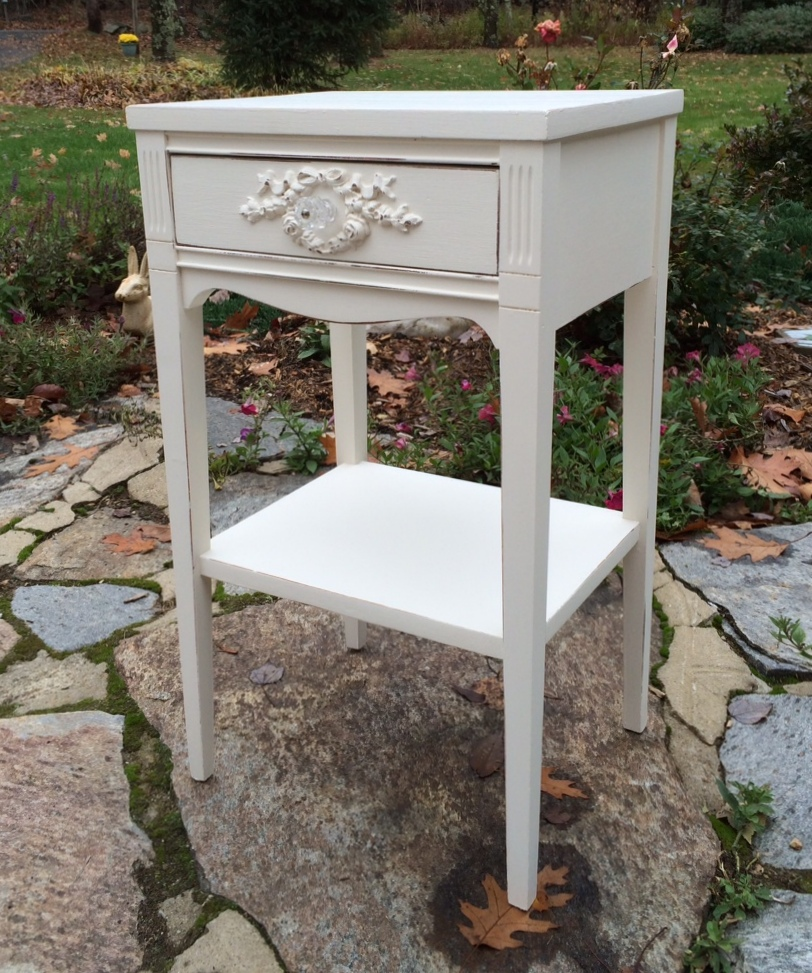 Vintage shabby chic white painted nightstand