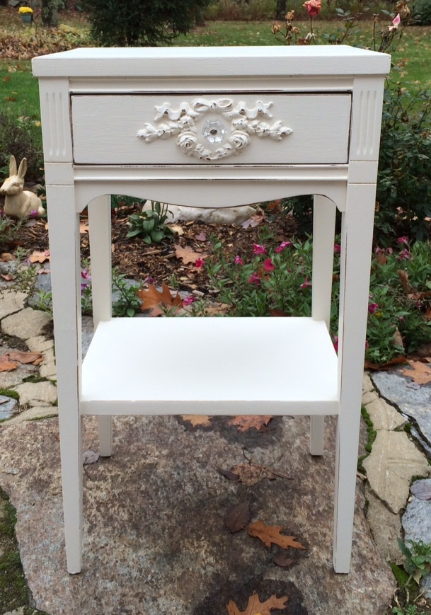 White distressed painted nightstand