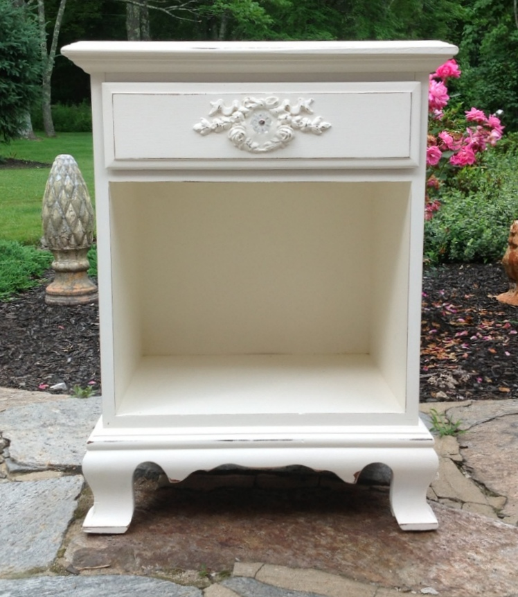White painted cottage nightstand