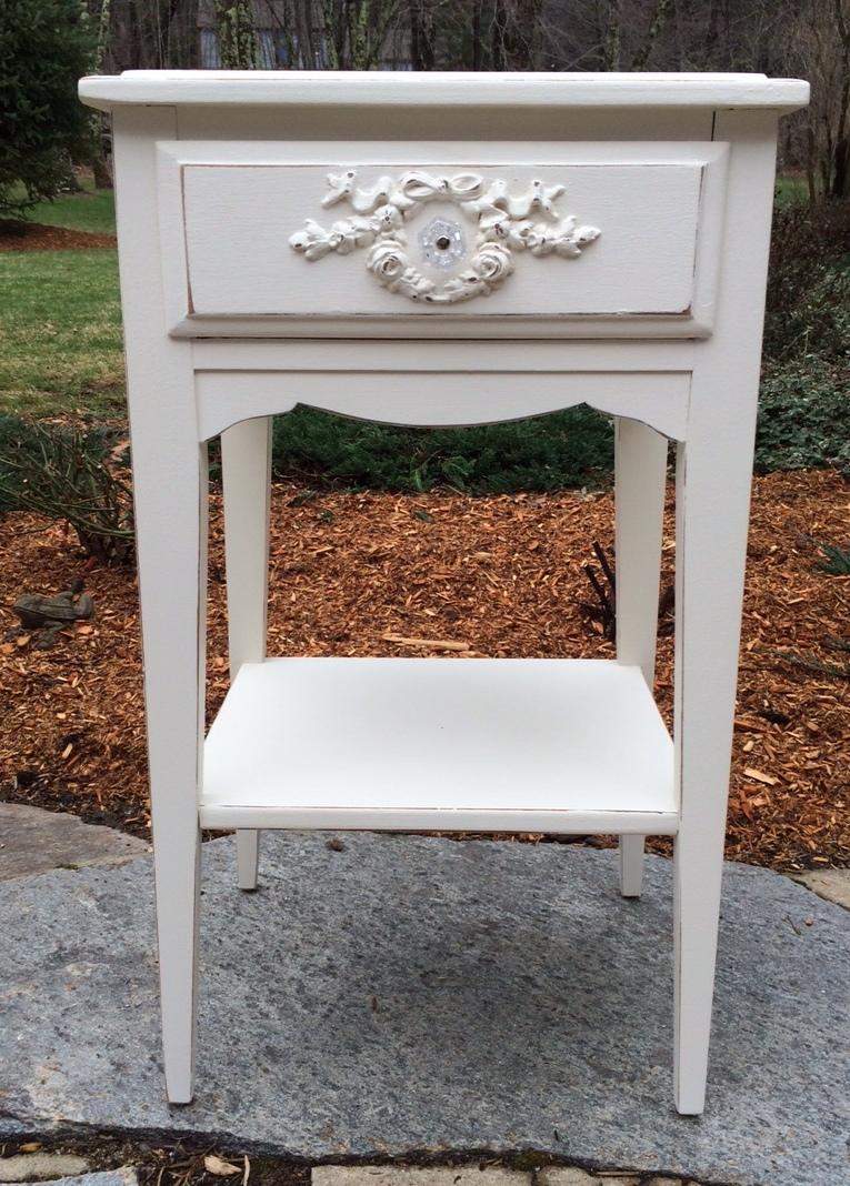 Shabby Chic Night Stand Painted White