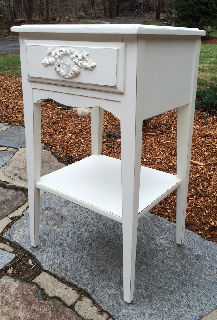 shabby chic night stand painted white rh juniperhillantiques com White Shabby Chic Dresser Shabby Chic Night Stand Target