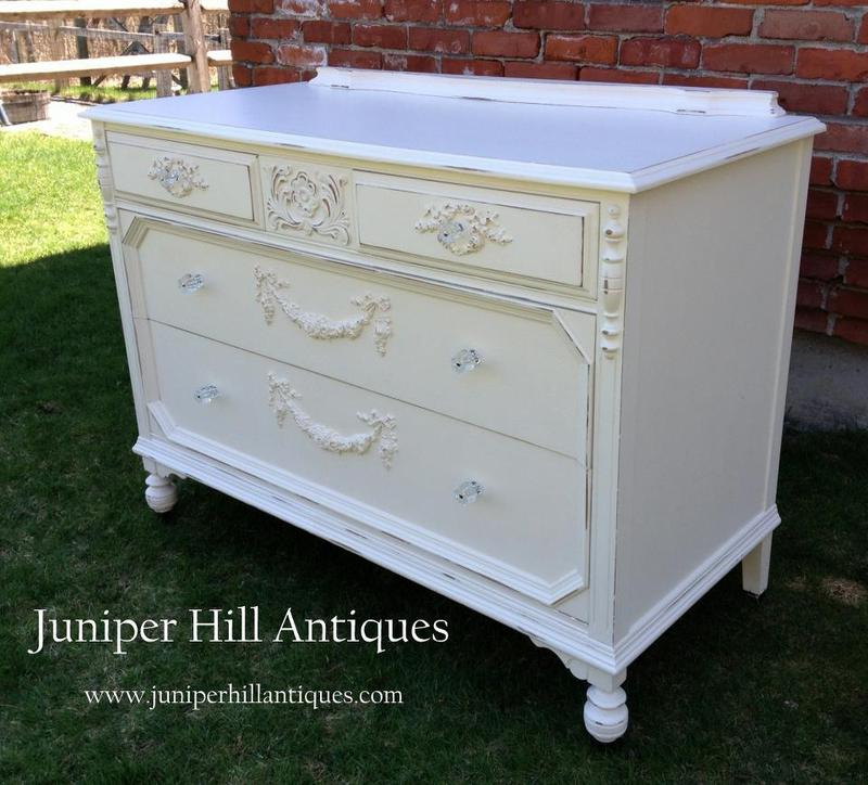 Vintage painted cottage dresser painted white
