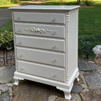 Shabby Chic tall dresser with rose garland crystal knobs