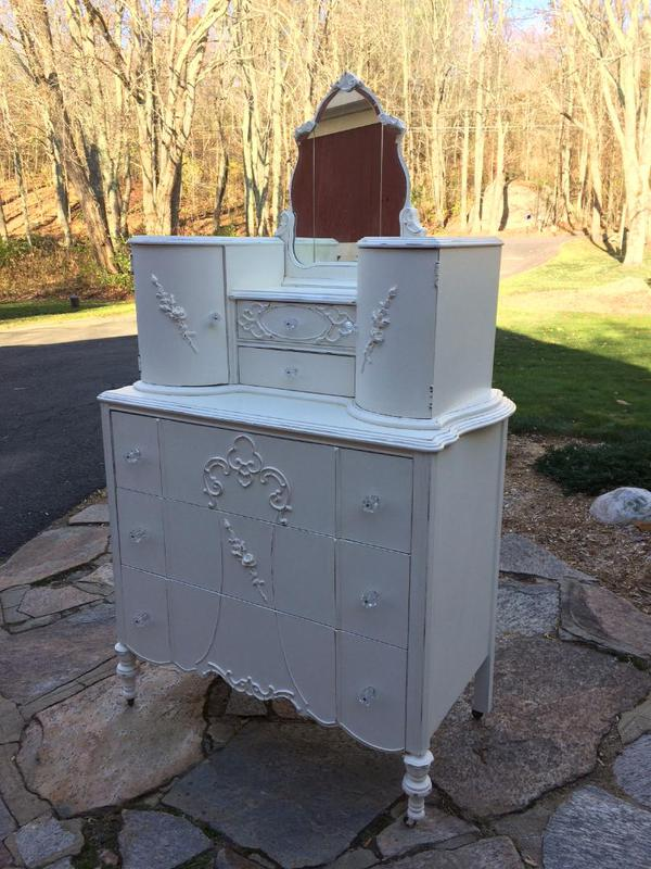Tall dresser white distressed finish