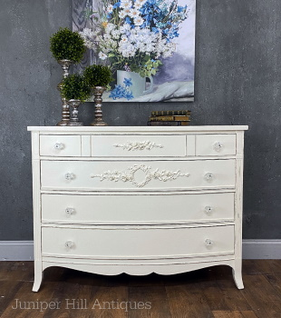 White shabby chic dresser with raised stencils