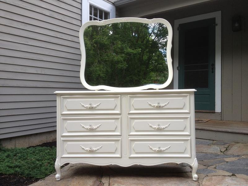 French provincial double dresser Painted cottage style shabby chic