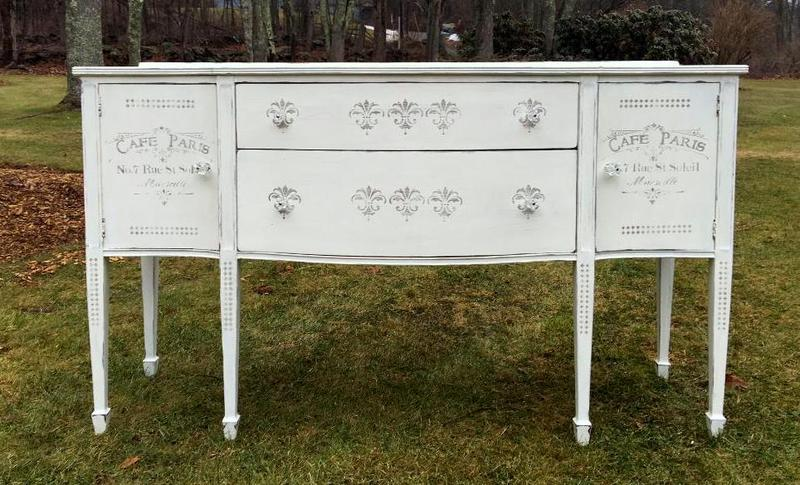 Stenciled French vintage sideboard