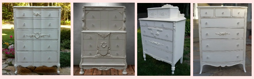 Shabby chic tall French dressers