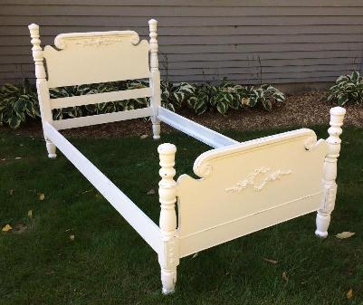 Shabby Chic Twin bed with rose appliques