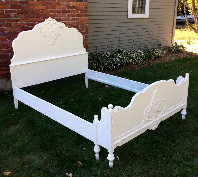 Painted Cottage Vintage Bed White Shabby Chic With Rose