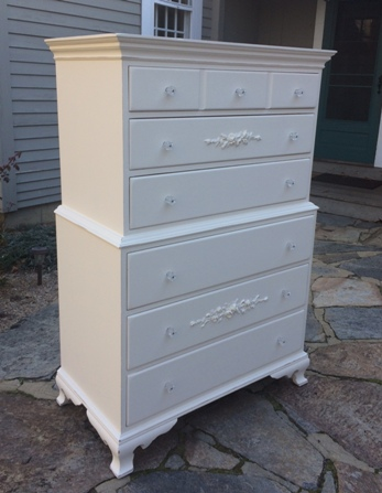 Painted shabby chic tall chest of drawers