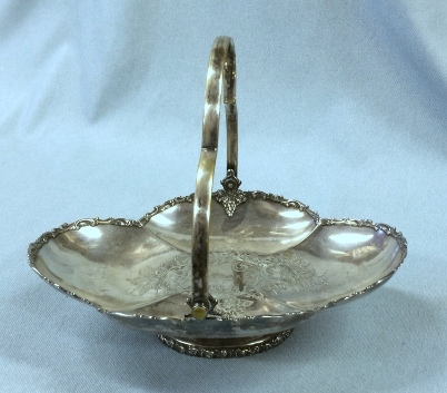 Vintage silverplate basket with etching