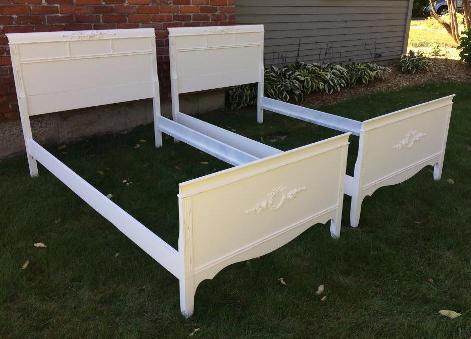 Vintage Painted shabby chic twin beds