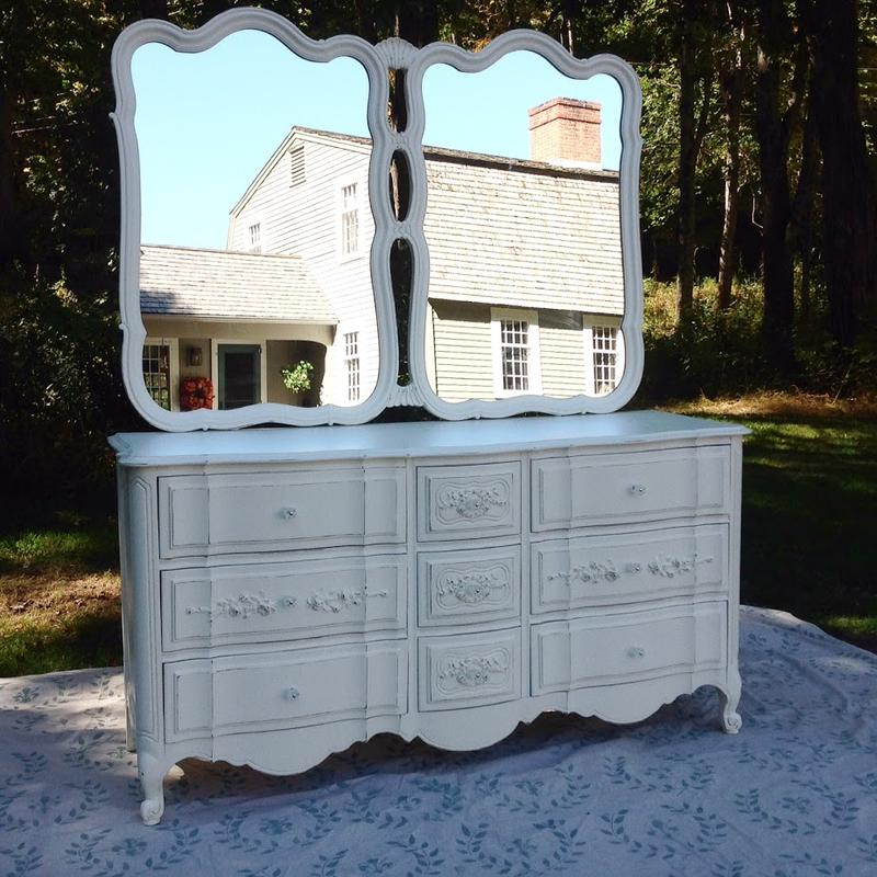 Classic painted cottage French Provincial shabby chic triple dresser