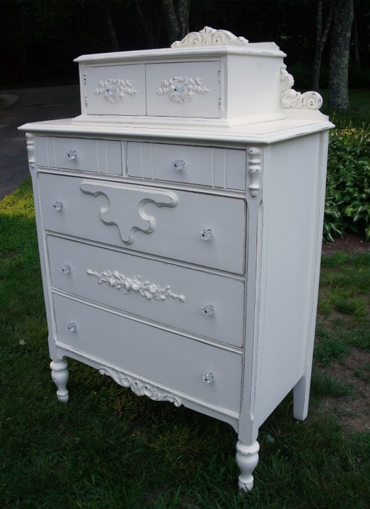Painted cottage tall dresser with rose appliques