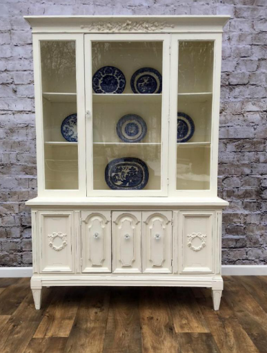 White French Provincial Hollywood Regency china closet