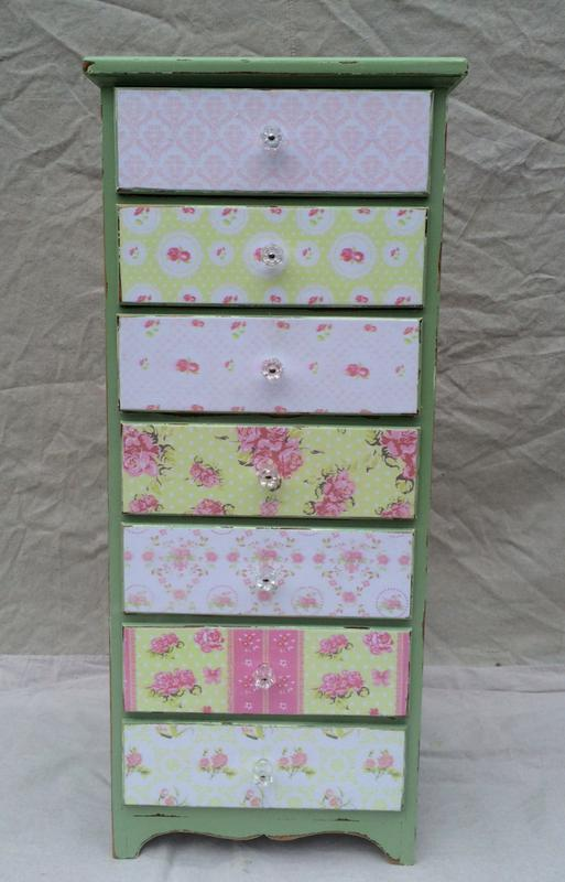 Shabby chic boho gypsy decoupaged stand with crystal knobs