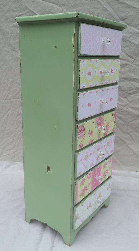 Boho chic decoupaged tall stand with drawers