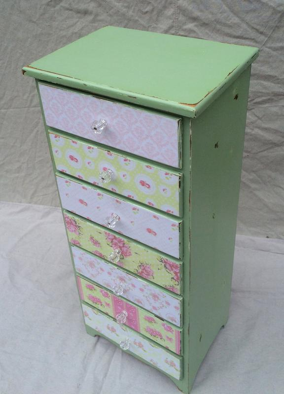 Chalk painted stand with decoupage