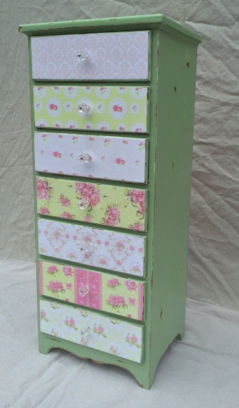 Shabby Chic Gypsy BoHo tall chest with decoupage