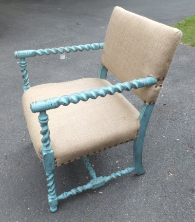 Painted teal wooden chair upholstered in burlap, beach cottage chic