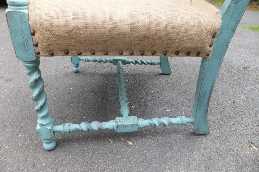 Mid century teal painted chair uphlostered in burlap