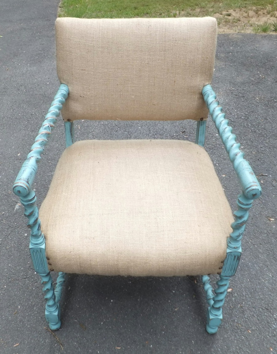 Turn of the century chair frame painted French teal with burlap upholstry