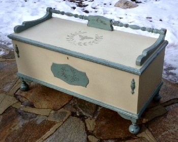 Vintage cedar chest painted shabby chic