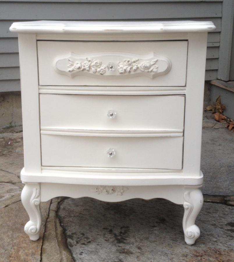 Shabby Chic White French Provincial Night Stand