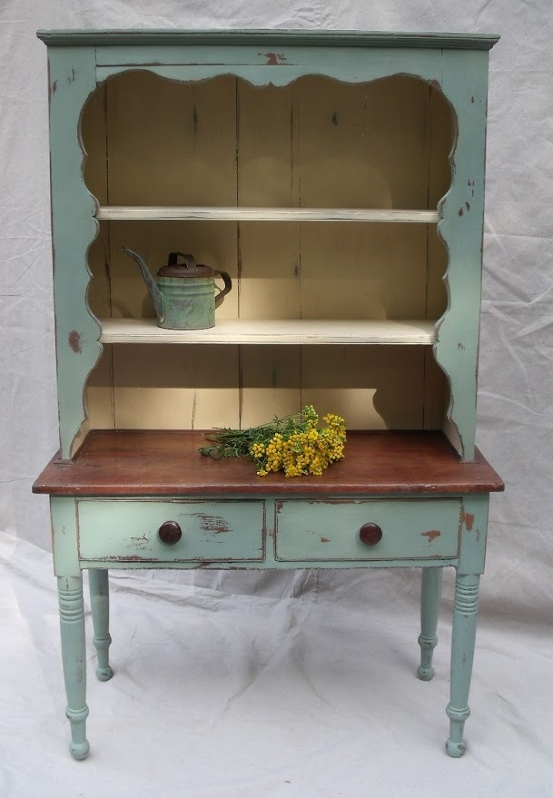 Farmhouse painted hutch, chalk paint, distressed