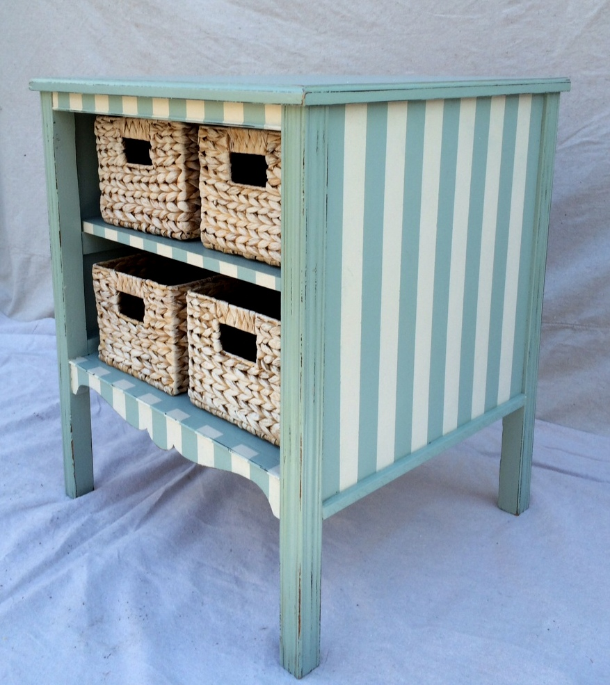 Vintage chalk painted nursery storage stand