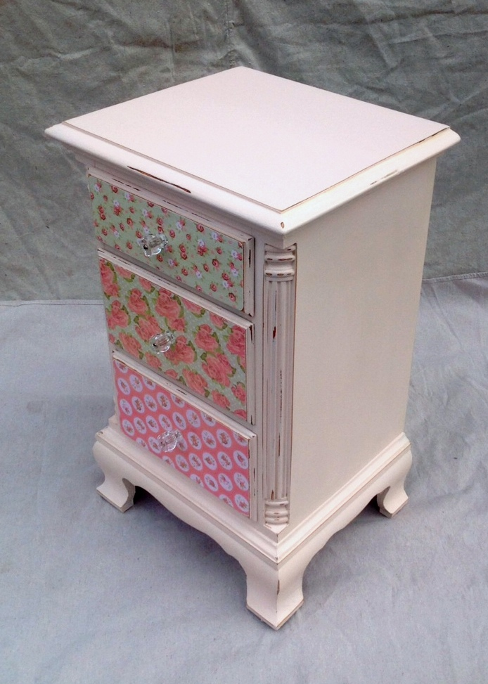 Decoupaged nightstand for girl's room