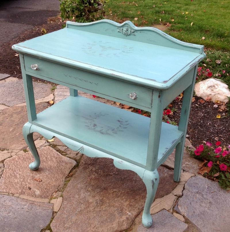 French sideboard painted teal chalk paint